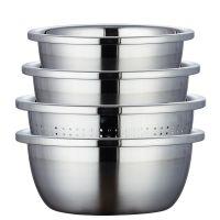 特厚不锈钢盆子套装 家用厨房沥水淘米洗菜水果盆果蔬篮滤水筛