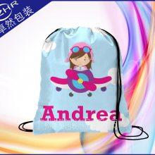定制童装服装袋 热升华彩印涤纶穿绳束口袋 儿童卡通服饰包装