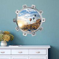 墙贴潜水艇假窗风景海洋城市贴画客厅卧室装饰贴纸海面风光5001