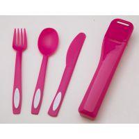 塑料餐具储存盒 便携旅行餐具盒 创意儿童刀叉勺刀叉筷子三件套装礼品赠送展销产品