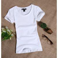 短袖t恤女纯棉简单血纯白丅土全白紧身半截袖桖上衣服打底衫夏季