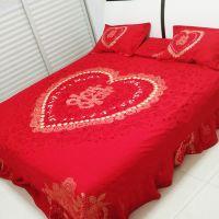 婚庆大红色纯棉四件套 结婚床上用品 全棉奥绒大红色纯棉4件套