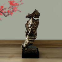玻璃钢创意沉默是金雕塑书房书柜西餐厅艺术装饰工艺品人物雕塑桌面摆件