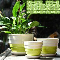 a带大号特大号室内创意简约绿萝多肉 组合套装陶瓷花盆托盘