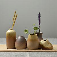 创意迷你陶瓷小花瓶客厅粗陶水培绿萝插花干花古朴禅意茶道摆件