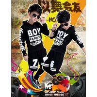 2018春秋款男童酷潮街舞服二件中大儿童嘻哈字母运动套装一件代发