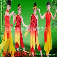 中国风打鼓服腰鼓服儿童秧歌服男女童舞蹈演出服少儿古典舞蹈服