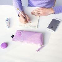爱奇 韩版文具盒创意可爱马卡龙倒梯形笔袋 简约文具袋帆布铅笔盒