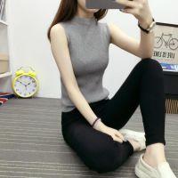 2016夏季韩版修身高领无袖针织衫背心女士薄款套头纯色打底衫上衣