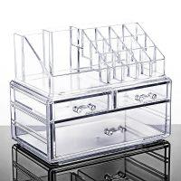 桌面抽屉式亚克力大号化妆品收纳盒透明梳妆台塑料整理护肤置物架