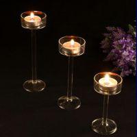 厂家直销透明高硼硅玻璃烛台现货供应耐热欧式手工自销玻璃烛台
