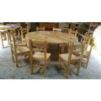 广东实木饭店餐桌,田园式防烫炭化饭桌餐桌椅,厂家定做