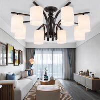 美式吸顶灯北欧复古LED客厅书房间卧室餐厅铁艺吊灯创意温馨灯具
