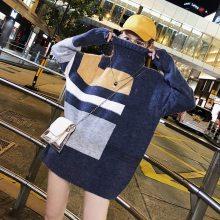东莞尾货库存毛衣批发新款女装秋欧洲站宽松大码中长款长袖毛衣女假两件打底针织衫