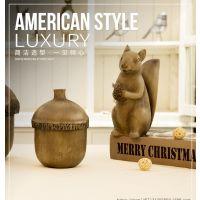 美式乡村树脂工艺品松鼠摆件坚果盒子桌面装饰品卡通动物摆件批发