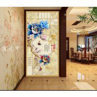 霍元甲瓷砖 现代简约高清客厅电视背景墙家和富贵彩雕牡丹