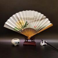 9寸高档竹节宣纸折扇定制 绢扇娟布扇广告礼品厂家直销