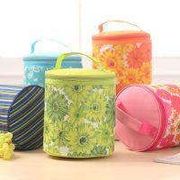 彩色花朵圆桶冰包 韩版圆筒户外野餐铝膜大容量保温包 居家便携式