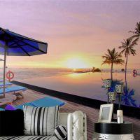 大型壁画墙纸床头电视背景墙画 摄影沙滩海景3D壁纸跨境专供