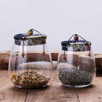 软木塞透明玻璃茶叶罐 小青柑密封茶罐布盖糖果花茶罐子包装罐子