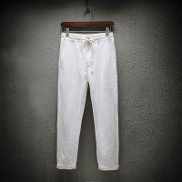 夏季中老年棉麻九分裤男士宽松薄款亚麻父亲休闲爸爸装老人九分裤