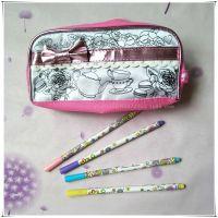 新代创意亲子彩绘化妆包儿童文具笔袋diy涂鸦画画铅笔袋奖品批发