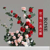 仿真玫瑰花藤澳洲玫瑰花藤条塑料假藤蔓挂串管道屋顶