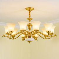 美式全铜灯客厅欧式别墅吊灯纯铜创意餐厅灯卧室简约LED灯具批发