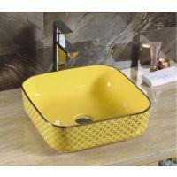 台面黄金色陶瓷元宝单孔台上洗手盆卫浴盆