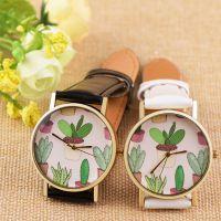 OKTIME 休闲风格皮带手表 仙人掌盆栽学生中性表 学院风腕表