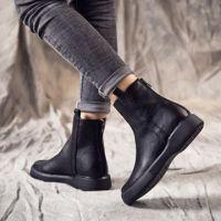 2018冬季款欧美性感尖头高跟短靴女粗跟瘦瘦弹力袜子靴黑色马丁靴