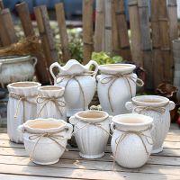 新品田园欧式陶瓷手工多肉花盆粗陶植物简约个性创意素烧陶瓷盆栽