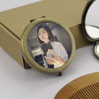 高品质小镜子定制照片logo二维码便携创意diy金属双面折叠化妆镜