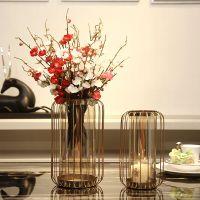 欧式现代鸟笼铁艺创意摆件花瓶干花插花装饰品电视柜餐桌浪漫烛台