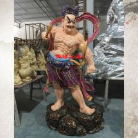 厂家直销树脂玻璃钢彩绘哼哈二将佛像/佛寺守山门神像定做