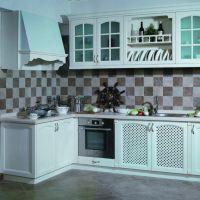 欧式整体实木橱柜定做 厨房厨柜组装装修 开放式橱柜厂家定做设计