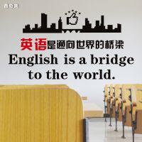 英语教室墙贴纸英文培训辅导班学校桥梁文化墙布置通向世界的装饰