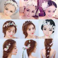 韩式新娘花环头纱头饰森系花朵公主婚纱结婚婚礼影楼造型超仙饰品