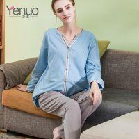 也诺夏季新款月子服纯棉产后哺乳衣开衫睡衣外穿孕妇装套装批发