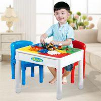 小鲁班积木桌子多功能儿童大小颗粒樂高男女孩拼插游戏学习玩具桌