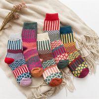 爆款袜子秋冬高档加厚保暖女士兔羊毛袜子双针双路民族风袜子女