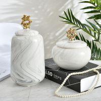 欧式现代创意简约陶瓷工艺品坛子做大理石纹2件套储蓄罐客厅摆件