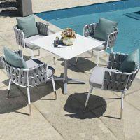 户外桌椅 休闲藤椅五件套现代简约 北欧别墅度假村编绳套椅