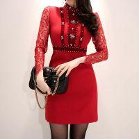 一三国际北京手拉手尾货批发城搬迁折扣 亮点国际品牌女装尾货批发酒红色旗袍唐装