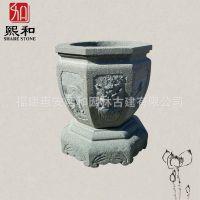 供应中式青石头花盆 四周有不同的吉祥雕纹 适合古建筑院落内摆放