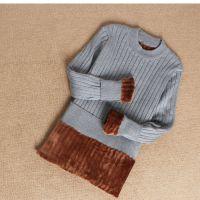 加绒保暖毛衣女中长款冬天钉珠套头修身针织衫黑色加厚紧身打底衫