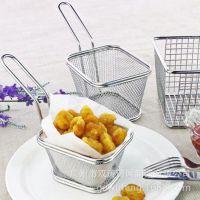 按图纸定做餐厅自助餐创意餐具不锈钢304迷你小炸篮薯条篮小吃篮