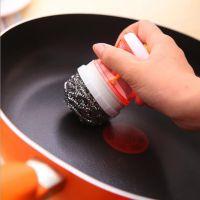 196 钢丝球压液洗锅刷 厨房清洁刷 创意自动加液 洗杯洗碗刷锅刷