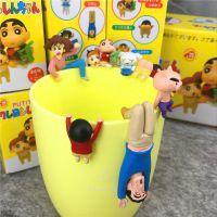 日本卡通~蜡笔小新一家 7款可爱 杯缘公仔装饰 茶友杯挂盒装 一代