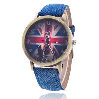 外贸热销 复古英国米字国旗石英手表 休闲时尚牛仔布男女学生表
